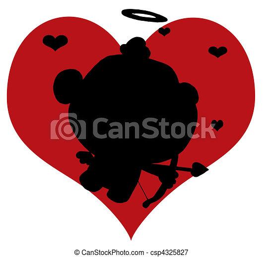 Black Silhouette Of Cupid  - csp4325827