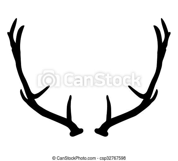 black silhouette of deer antlers eps vectors search clip art rh canstockphoto com deer antler logo brand