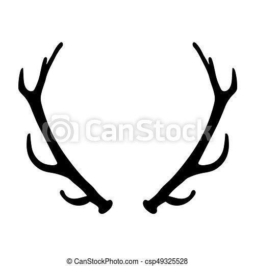 black silhouette of deer antlers vector illustration vector rh canstockphoto com
