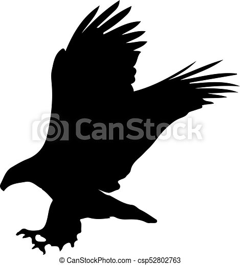 Black Silhouette Of Eagle Isolated On White Background Vector