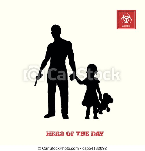 Black Silhouette Of Man With Gun And Little Girl On White Background