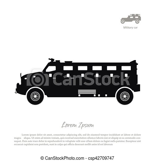 Black silhouette of military car on white background. War SUV in side view. - csp42709747