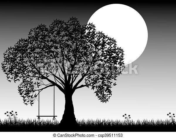Black silhouette of old tree at night scene. - csp39511153