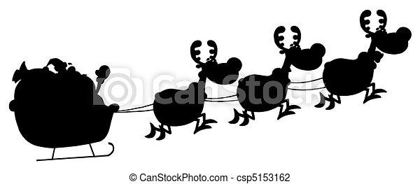 Black Silhouette Of Santa - csp5153162