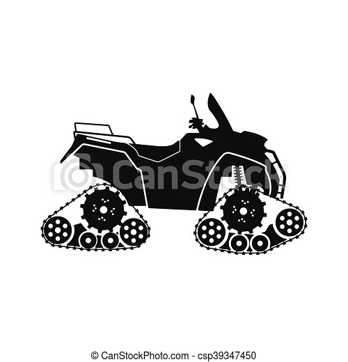 Black silhouette of the all-terrain vehicle on a white background - csp39347450