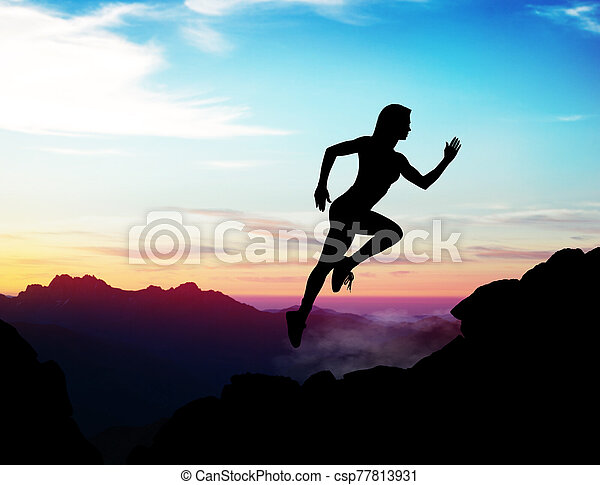 Black silhouette of woman jumps up on the rock. - csp77813931