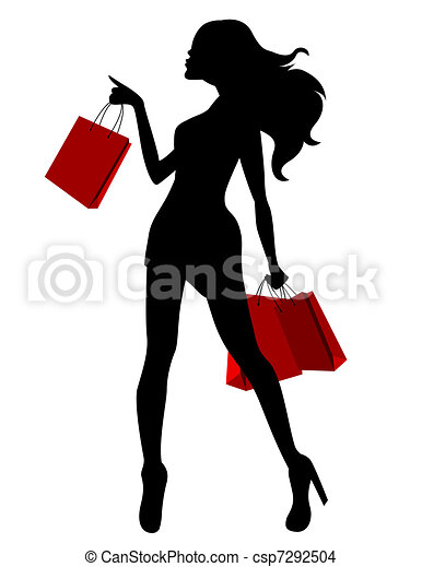 Black silhouette of young woman and red bags - csp7292504