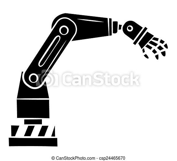 Black silhouette : robotic hand technology.  Black silhouett...