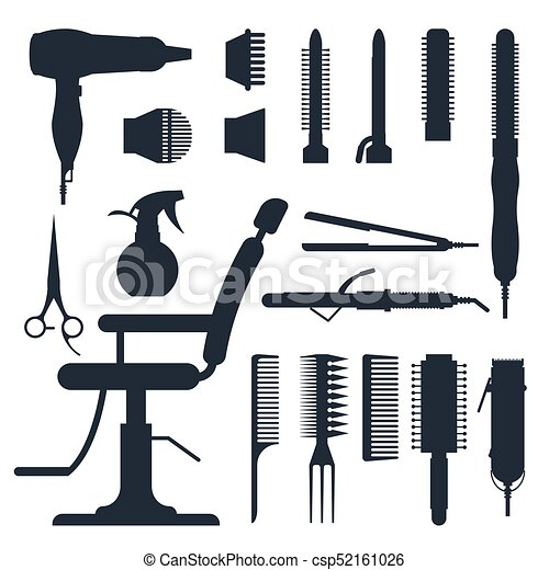 Black silhouette set of hairdresser objects isolated on white background. Hair salon equipment and tools logo icons, hairdryer, comb, scissors, hairclipper, curling, hair straightener for barbershop - csp52161026