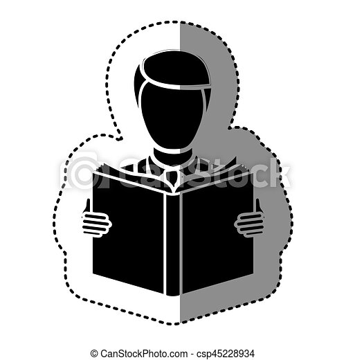 black silhouette sticker with man reading a book - csp45228934