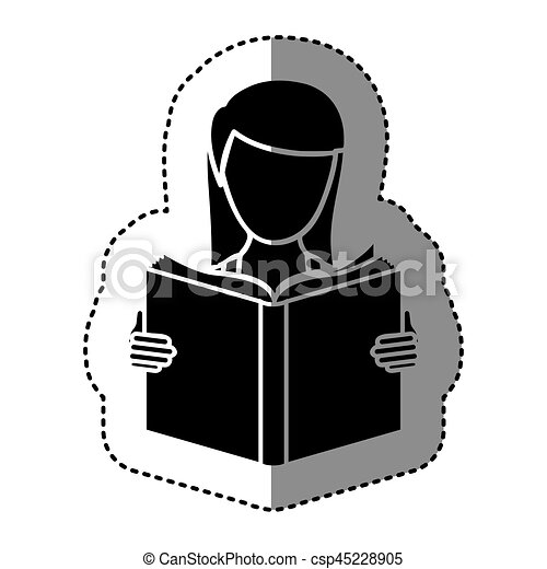 black silhouette sticker with woman reading a book - csp45228905