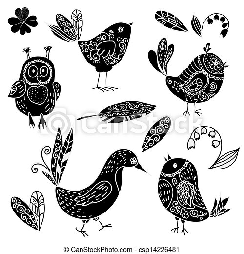 Black silhouettes bird and flower doodle set - csp14226481