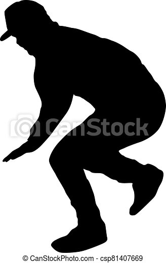 Black Silhouettes breakdancer on a white background - csp81407669
