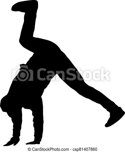 Black Silhouettes breakdancer on a white background - csp81407860