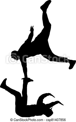 Black Silhouettes breakdancer on a white background - csp81407856