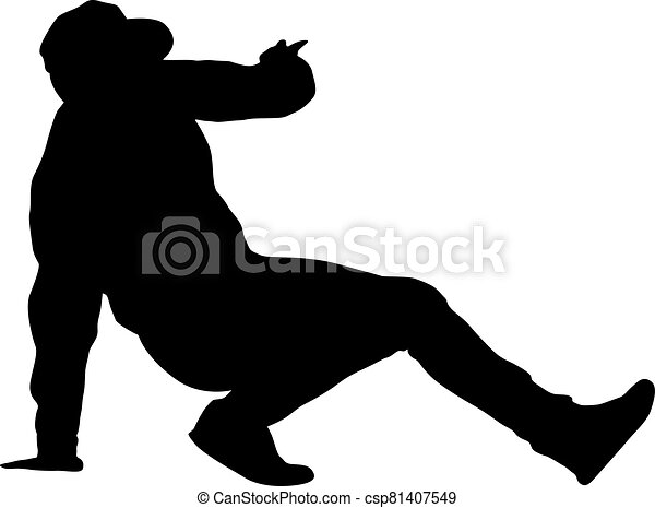 Black Silhouettes breakdancer on a white background - csp81407549
