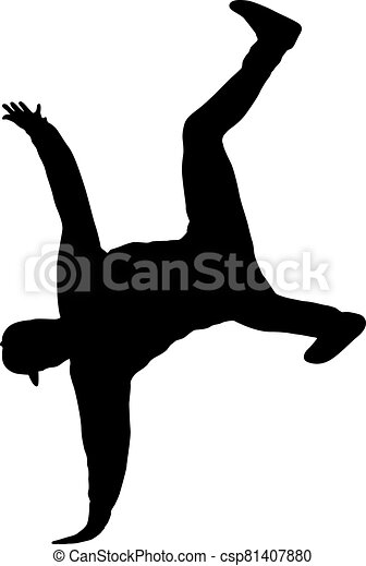 Black Silhouettes breakdancer on a white background - csp81407880