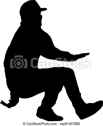 Black Silhouettes breakdancer on a white background - csp81407882