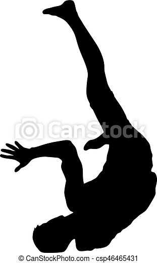 Black Silhouettes breakdancer on a white background - csp46465431