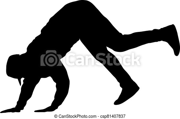 Black Silhouettes breakdancer on a white background - csp81407837