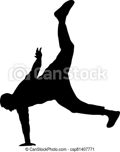 Black Silhouettes breakdancer on a white background - csp81407771