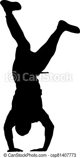 Black Silhouettes breakdancer on a white background - csp81407773