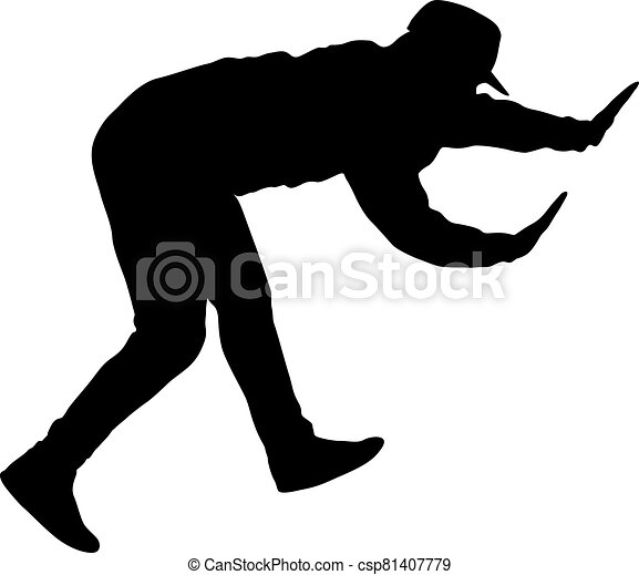 Black Silhouettes breakdancer on a white background - csp81407779