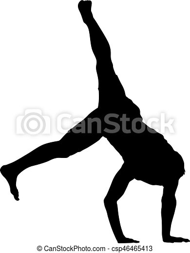 Black Silhouettes breakdancer on a white background - csp46465413