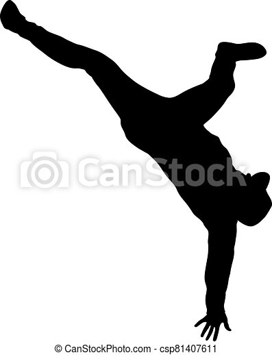 Black Silhouettes breakdancer on a white background - csp81407611
