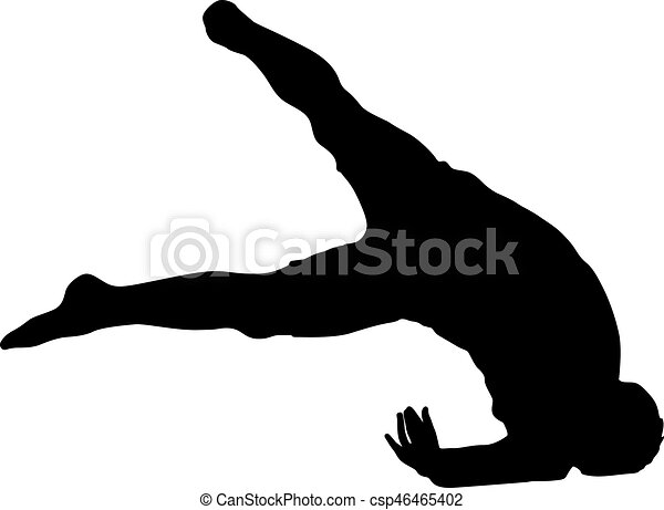 Black Silhouettes breakdancer on a white background - csp46465402
