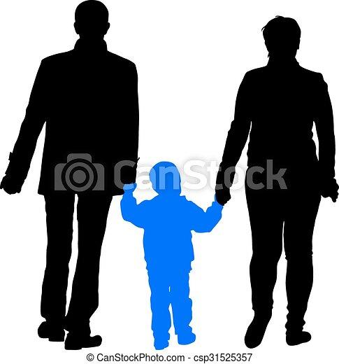 Black silhouettes Family on white background. Vector illustration. - csp31525357