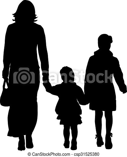Black silhouettes Family on white background. Vector illustration. - csp31525380