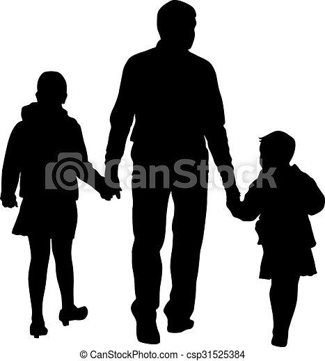 Black silhouettes Family on white background. Vector illustration. - csp31525384