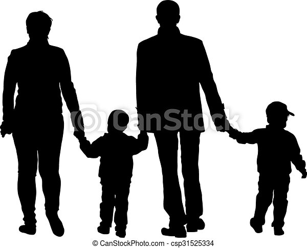 Black silhouettes Family on white background. Vector illustration. - csp31525334