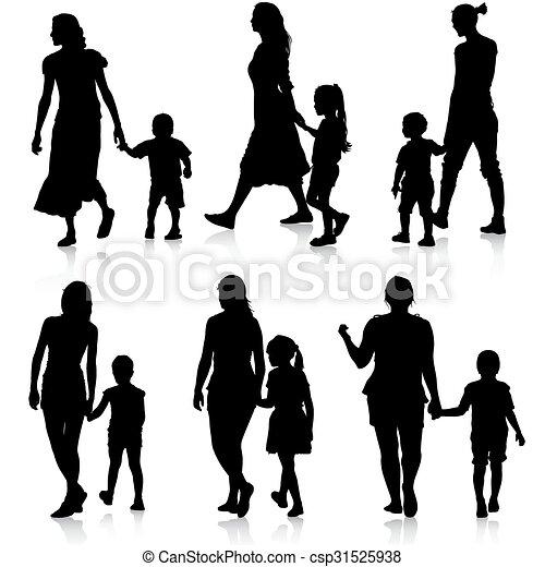 Black silhouettes Family on white background. Vector illustration. - csp31525938