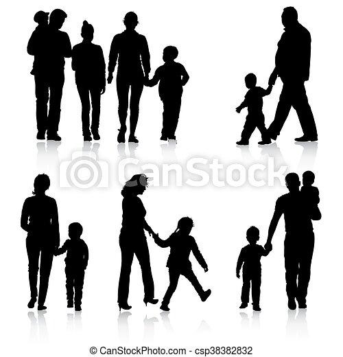 Black silhouettes Family on white background. Vector illustratio - csp38382832