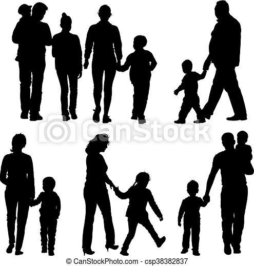Black silhouettes Family on white background. Vector illustration - csp38382837