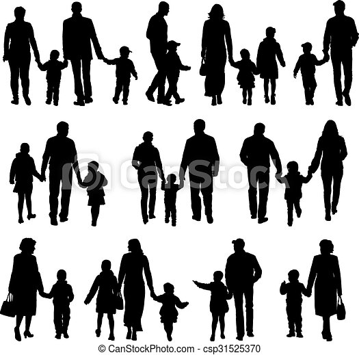 Black silhouettes Family on white background. Vector illustration. - csp31525370