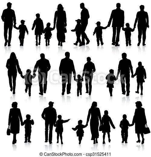 Black silhouettes Family on white background. Vector illustration. - csp31525411
