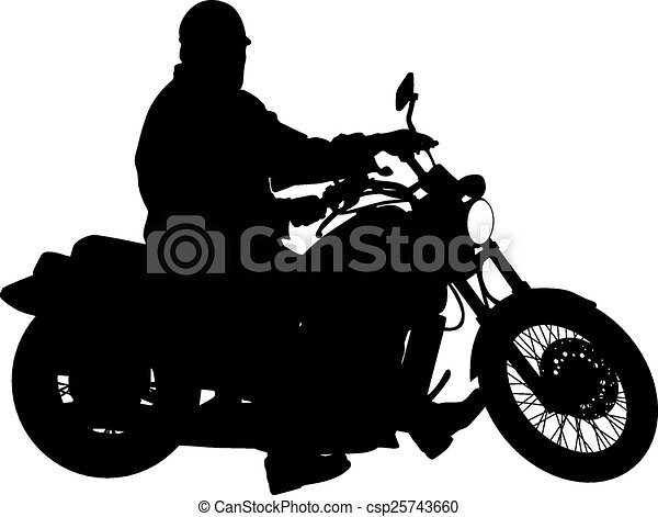 black silhouettes motocross rider on a motorcycle vector clip rh canstockphoto com Motorcycle Outline Clip Art Harley-Davidson Motorcycle Clip Art