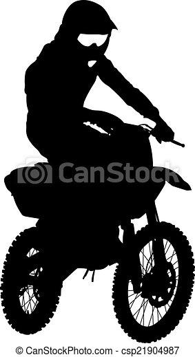 Black silhouettes Motocross rider on a motorcycle. Vector illust - csp21904987