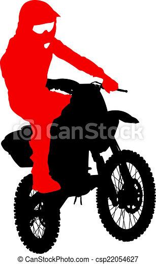 Black silhouettes Motocross rider on a motorcycle. Vector illust - csp22054627