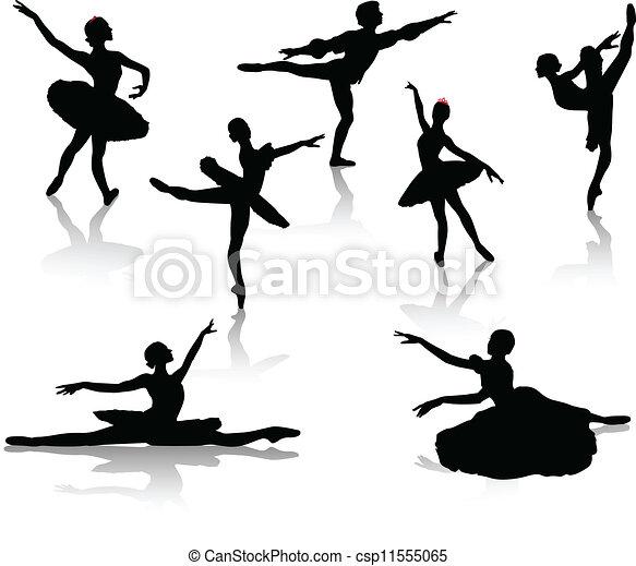 Black silhouettes of ballerinas  - csp11555065