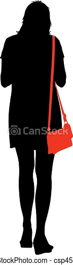 Black silhouettes of beautiful woman on white background. Vector illustration - csp45828182