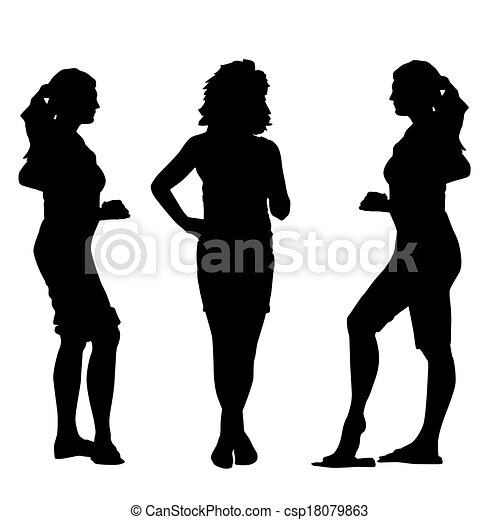 Black silhouettes of beautiful womans on white background. Vector illustration. - csp18079863