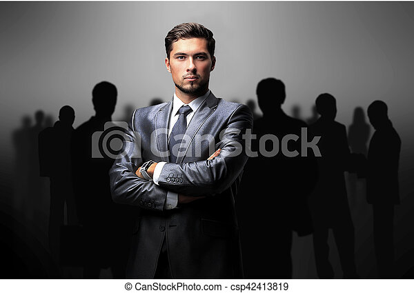 black silhouettes of business people - csp42413819
