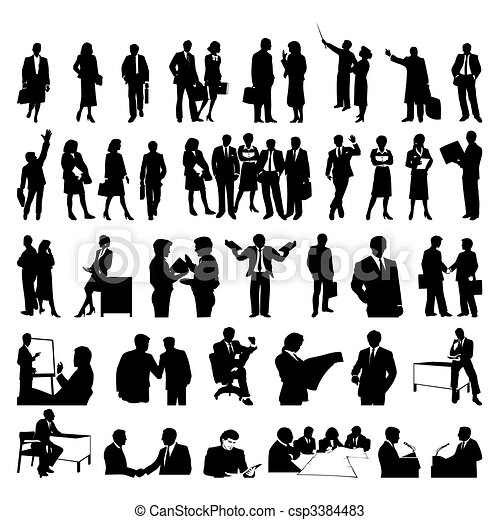 Black silhouettes of businessmen. A vector illustration - csp3384483