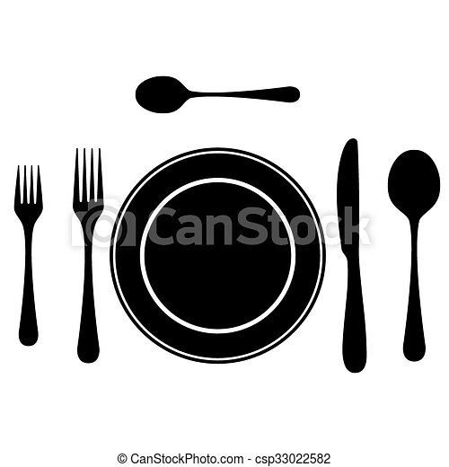 Black silhouettes of cutlery