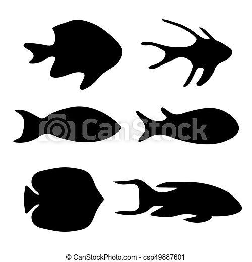 black silhouettes of fish- vector illustration - csp49887601