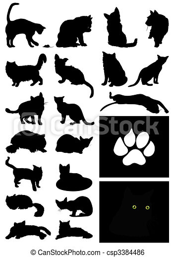 Black silhouettes of house cats. A vector illustration - csp3384486
